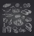 sketched mexican food elements set on black vector image