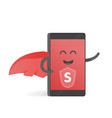 smartphone concept of superhero with a red cape vector image vector image