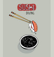 sushi diving cute cartoon poster vector image