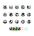 telecommunications icons - metal round series vector image vector image