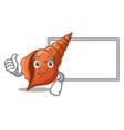 thumbs up with board long shell character cartoon vector image