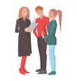 two women and man standing and holding reports vector image