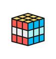 3d cube mechanical puzzle toy flat color vector image