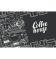 banner with a conveyor coffee production vector image vector image