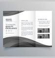 black wave business trifold brochure design vector image vector image