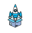 box with technology rocket out side vector image vector image