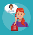 call center line service vector image