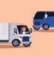 cargo truck design vector image vector image