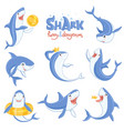 cartoon shark swimming ocean big teeth blue fish vector image