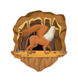 cave interior scene with griff greek mythological vector image