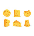 cheese icon set in realistic style isolated vector image vector image