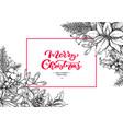 christmas wreath frame hand drawn vector image