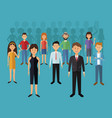 color background with set full body group people vector image