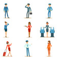 commercial flight board crew collection of air vector image vector image