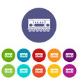 compartment carriage icons set color