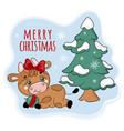 cozy bull under christmas tree cartoon vector image