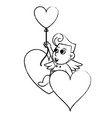 cupid with heart shaped balloon sketch vector image