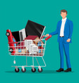 customer with supermarket shopping cart vector image