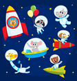 cute animal astronauts spacemen flying in rockets vector image