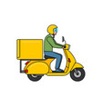 delivery man on scooter vector image vector image