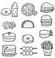 Doodle of food cafe vector image vector image