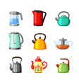 electric kettles and teapots colored set modern vector image
