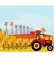 farmer plows the field vector image
