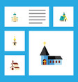 flat icon christian set of architecture religious vector image