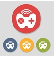 Flat joystick icons set vector image