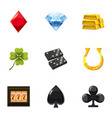 gaming luck icons set cartoon style vector image vector image