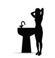 girl black silhouette with sink vector image vector image