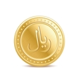 golden arabic riyal coin on white background vector image vector image