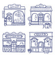 hand drawn different buildings and vector image vector image