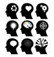 head icons with idea symbols vector image vector image