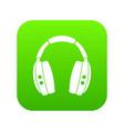 headphones icon digital green vector image vector image