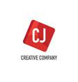 initial letter cj logo template design vector image vector image