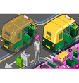 Isometric Indian Rickshaw in Rear View vector image