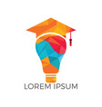 light bulb and graduation cap logo vector image