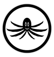 Octopus button on white vector image vector image