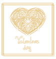Outline golden heart shape with copy space vector image vector image