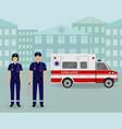 paramedics ambulance team with ambulance car and vector image vector image