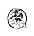 samurai jiu jitsu judo fighting drawing vector image vector image