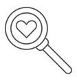 searching for love thin line icon amour and lens vector image vector image