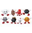 set of cartoon sports balls equipment vector image vector image