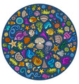 set sealife cartoon doodle objects symbols and vector image vector image