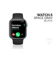 smart watch with black bracelet realistic vector image