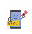 smartphone concept with megaphone announcing vector image vector image
