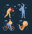 sport people on dark vector image vector image