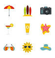 summer holidays icons set flat style vector image vector image