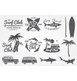 Surf club emblem retro badge and design elements vector image vector image